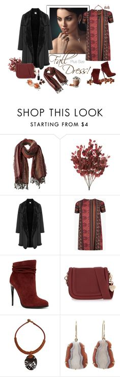 """Fall Look: Plus Size Dresses"" by ms-ironickel ❤ liked on Polyvore featuring prAna, La Stampa, Boohoo, ALDO, Topshop, NOVICA, Jamie Joseph, MAC Cosmetics and dress"