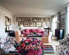 the living room of Lee Radziwill's apartment in Paris, which she designed herself.