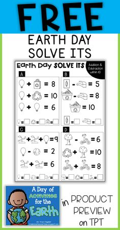 FREE Earth Day math activity! Addition and subtraction within 10 puzzles for first grade, second grade, and third grade!
