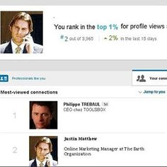 LinkedIn ever wonder how one gains influence and respect out of all the millions competing? Well ranking in the top 1% of LinkedIn profiles certainly helps! Last week a client based his decision on how strong mine would be...guess who got hired?  Please in