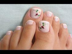 Pedicura. - YouTube Pedicure Nail Art, Mani Pedi, Get Nails, Hair And Nails, Cute Pedicures, Toe Nail Designs, Bling Nails, Flower Nails, Girly Things