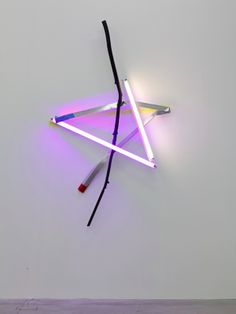 Mark Handforth Star Light 2013 neon ligths and eectrical fixtures, wooden branch, aluminium, paint 206 x 123 x 28 cm approx,  courtesy Galle...