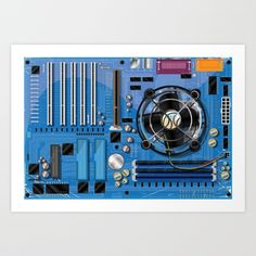 Buy Computer Motherboard Art Print by Nick's Emporium . Worldwide shipping available at Society6.com. Just one of millions of high quality products available.