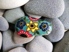 Flowers painted rock