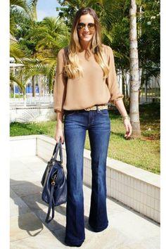 Beige sweater + leopard belt + flare jeans
