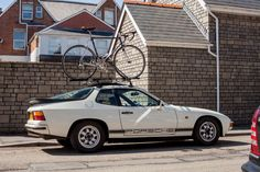 White Porsche 924 with bike rack