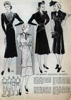 Advance Fashion News, January 1938 featuring Advance 1951, 1941, 1942 and 1943