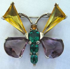 SOLD #2847 Mazer Yellow, Topaz, Purple & Green Butterfly Pin at Lee Caplan Vintage collection on RubyLane