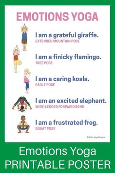 Emotions (Printable Poster) - learn about feelings through yoga poses for kids! Kids Yoga Poses, Yoga For Kids, Exercise For Kids, Kid Exercise Games, Yoga For Anger, Yoga Inspiration, Preschool Yoga, Toddler Yoga, Sensory Bins