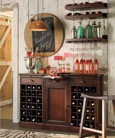 A beautiful off-beat wine bar design. Easily accomplished in any space. Great for entertaining your dinner guests and taking care of your wine collection. #HomeBarDecor