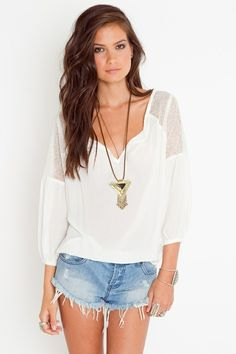 Summer concert outfit. Love the blouse and pendant, though I'd pair with jeans.