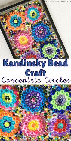 Kandinsky circles bead craft for kids. Famous artists for kids. Easy crafts for kids