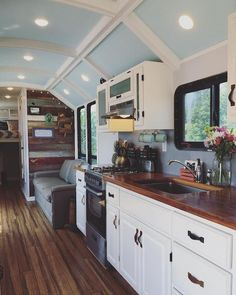 """""""Their tiny house features 100 watts of solar and a four-battery bank, which makes them self sufficient."""""""