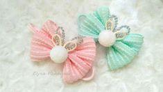Cute Headband Ideas : Bow Headband With Korean Ribbon & Pom-pom ball   DIY by Elysia Handmade - YouTube