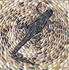 Pebble Mosaic, Stone Mosaic, Pebble Art, Mosaic Tiles, Garden Paths, Garden Art, Outdoor Stone, Mosaic Artwork, Blue Tiles