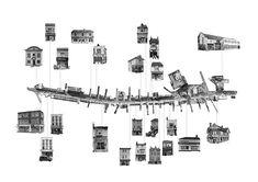 沿街建筑形式,提取街道地图,配上黑白色图片,清晰的展示沿街立面形式和风格。 Fernanda Graciano