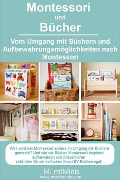 Montessori at home: Montessori and books – on dealing with books and storage ideas. Montessori homemade, Montessori DIY, Montessori toddler, DIY bookcase for kids Source by MontiMinis Montessori Baby, Baby Zimmer, Montessori Materials, Kids And Parenting, Bookshelves, Blog, Kindergarten, Diy Projects, Homemade