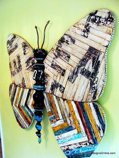 Large 5FT Mixed Media Butterfly Art with Reclaimed Wood and Vintage Sign Look, Recycled Art Sculpture