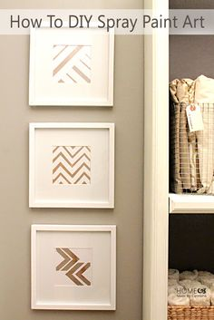 DIY Spray Paint Art Have 15 minutes? Create this fun easy project with spray paint and painters tape, or use the provided chevron template. Diy Wand, Diy Hacks, Home Crafts, Diy Home Decor, Navy Bathroom Decor, Bathroom Rules, Do It Yourself Decoration, Diy Spray Paint, Spray Painting