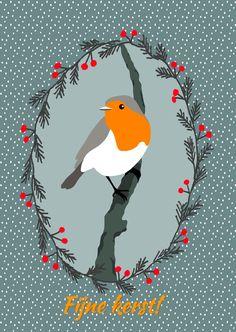 Kerstkaarten - Kerstvogel, verkrijgbaar bij #kaartje2go voor €1,89