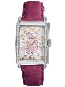 Gevril Women's 7248RE.14E Pink Mother-of-Pearl Genuine Ostrich Strap Watch