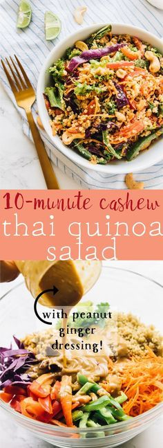 This Cashew Thai Quinoa Salad is loaded with Thai inspired ingredients and dressed with a divine peanut ginger sauce!! via http://jessicainthekitchen.com