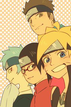 Konohamaru , Mitsuki , Sarada e Boruto Naruto Shippuden Sasuke, Anime Naruto, Hinata, Sarada E Boruto, Wallpaper Naruto Shippuden, Naruto Cute, Shikamaru, Otaku Anime, Team 7