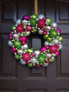 Beautiful Christmas ornament wreath pink, lime green and silver on Etsy, $45.00