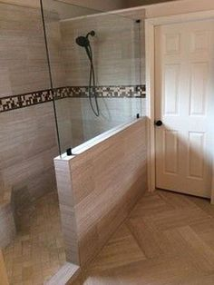Shower remodel Removing the original tub and shower and replacing them with this beautiful walk 2019 Half Wall Shower, Master Bathroom Shower, Bathroom Renos, Shower Tub, Bathroom Renovations, Modern Bathroom, Small Bathroom, Bathroom Ideas, Tub To Shower Remodel