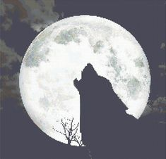 Counted Cross Stitch Pattern Wolf Howling at Full Moon PDF cs0943 | TerryEmelia - Patterns on ArtFire
