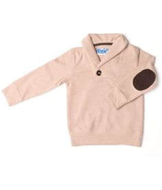 Timber Corduroy Pullover in salmon with leather patch elbow #kidstylin