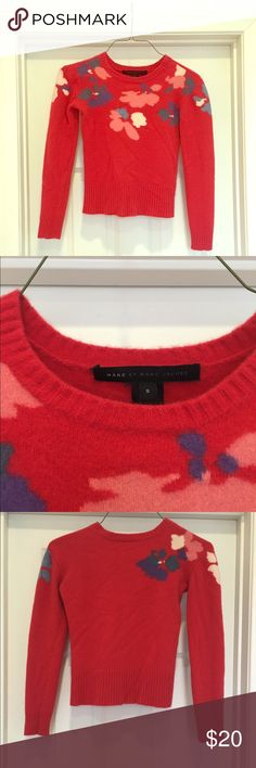 MARC X MARC JACOBS FLORAL SWEATER Lovely Marc by Marc Jacobs red floral sweater.  Fits snugly- more like the fit of an XS.  Sleeves 2/3 length.  Style perfect for all seasons- weather permitting. Marc by Marc Jacobs Sweaters