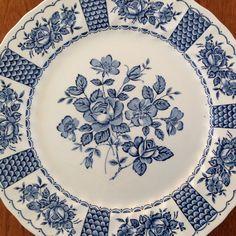 "Myott MELODY 10"" Blue and White Transferware Ironstone Dinner Plate by BucketListGarnishes on Etsy"