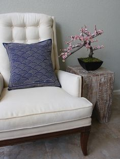 Rustic Navy Blue Ocean Oriental Asian THROW PILLOW: Settle back against these indigo blue pillows and allow their ivory waves carry you to far away places! A pillow in this Japanese pottery inspired pattern adds instant texture, color and a subtle nautical vibe to your space. The colors of this rustic pillow work beautifully with ivories, soft neutrals and even reds. Toss a few Pacific Blue pillows to bring a sense of the ocean and a Zen like serenity to your room.