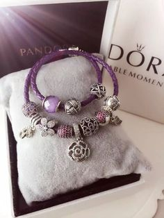 50% OFF!!! $299 Pandora Leather Charm Bracelet Purple. Hot Sale!!! SKU: CB01658 - PANDORA Bracelet Ideas