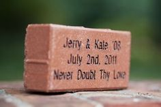 A William and Mary wedding brick?  Where do these go?