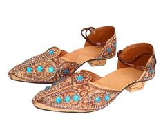The Jodhpuri Leather Juti For Women (Turquoise Gems) is available here at the best price in online shopping and, just like every product we sell, is a 100% genuine product. It has the following specifications:  Model: Juti  Type: Jodhpuri Leather Juti For Women Material: Leather