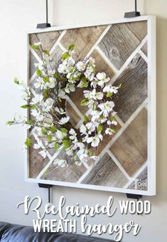 DIY Reclaimed wood wall art to hang those beautiful wreaths. Made from barn wood in a fun brick pattern. DIY Reclaimed wood wall art to hang those beautiful wreaths. Made from barn wood in a fun brick pattern. Small Woodworking Projects, Learn Woodworking, Woodworking Patterns, Woodworking Furniture, Woodworking Plans, Woodworking Workshop, Wood Furniture, Woodworking Supplies, Woodworking Techniques