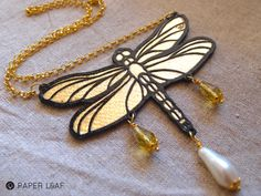 Dragonfly | handmade papercut necklace |  Paper Leaf