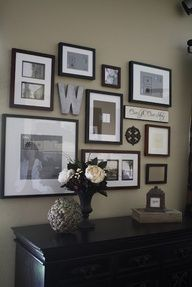 Would LOVE this in my entry way!! Too busy for foyers, better suited for bedrooms - family photos, favorite quotes and decorative elementd