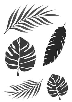 Tropical Leaves stencil - various sizes and shapes - - belt models Leaf Stencil, Stencil Painting, Flower Stencils, Wal Art, Wall Painting Decor, Leaf Template, Silhouette Art, Stencil Designs, Wall Stencil Patterns