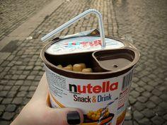 The Italians have it down: 1 cup=nutella, pretzel sticks (or Nutella Dipping Medium) and Iced tea (I'd put milk in instead)... Viva Italia