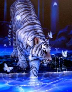 A blue pillow with a white tiger on it. This pillow looks stunning and will be loved by people that like tigers. So tiger fans check this pillow out! Purple Love, All Things Purple, Shades Of Purple, Deep Purple, Purple Stuff, Purple Art, Purple Hues, Pink, Big Cats Art