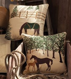 """All Weather Equestrian Pillows. The outdoor/indoor  equestrian pillow collection is made of Sunbrella® fabric, which is designed to repel water and be fade resistant. Highly-detailed, top-quality embroidery enhance the heather beige background. Durable piping trim and a hidden zipper for cleaning. Good size pillow (20""""x 20"""") to enjoy for multiple uses and locations.  s."""