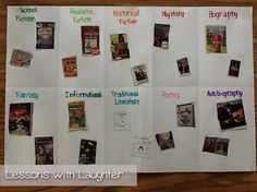 Students work on identifying genre by cutting books out of Scholastic magazines and gluing them onto this foldable!