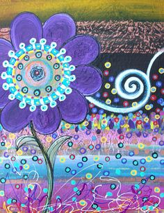 Textured Art Flower Original Handpainted Abstract Acrylic Painting on 24Lx18W…