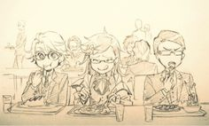 I love how Grell has his hair tied back! Maybe he doesn't want it in his face while eating! XD