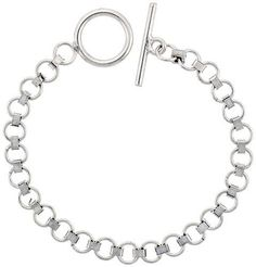 Sterling Silver Round Link Bracelet w/ Toggle Clasp 9/32 inch (7.5 mm) wide, 8 inch long Sabrina Silver. $70.20