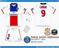 Paris St Germain away kit for 2013-14.