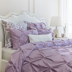 Combining soft tones with modern textures, the Valencia light purple duvet cover from Crane & Canopy looks chic, voluminous, and elegant. Lilac Bedding, Lilac Bedroom, Green Bedding, Bedding Decor, Purple Duvet, Chic Bedding, Purple Bedding Sets, Bedroom Ideas Purple, Purple Bedroom Design